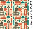 Seamless pattern with London symbols and landmarks. - stock vector