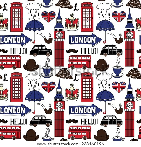Seamless pattern with London symbols and landmarks. Vector illustration - stock vector