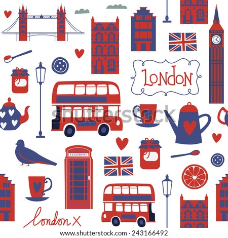 Seamless pattern with London touristic icons