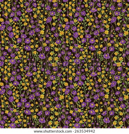 Seamless pattern with lot of small flowers and leaves - stock vector