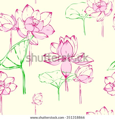 seamless pattern with Lotus flowers