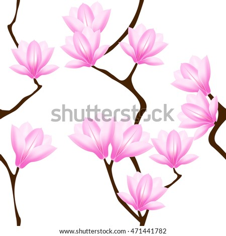Seamless pattern with magnolia flowers.