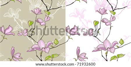 Seamless pattern with magnolia flowers - stock vector