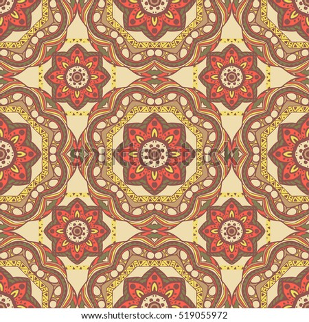 Seamless pattern with mandalas in beautiful colors for your design. Vector ornaments, background
