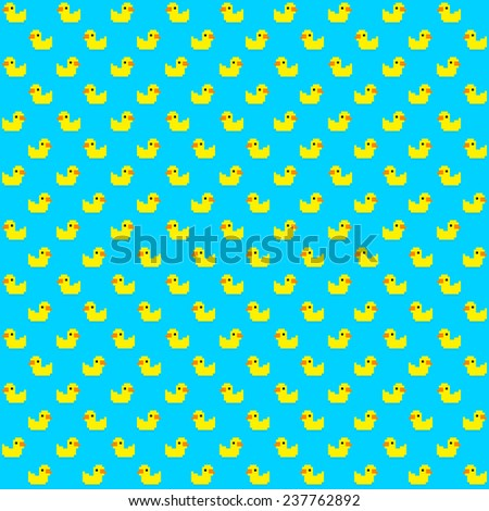 Seamless pattern with many pixel art yellow bath ducks on blue background - stock vector