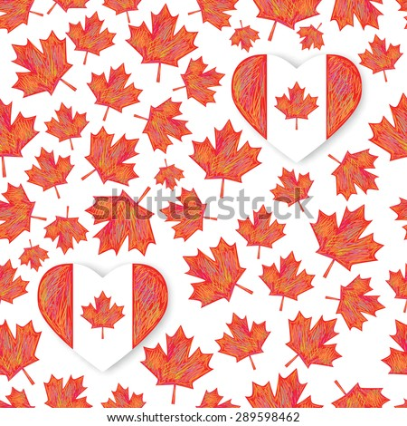 Seamless pattern with  maple leafs. Canada Day Heart design vector illustration - stock vector