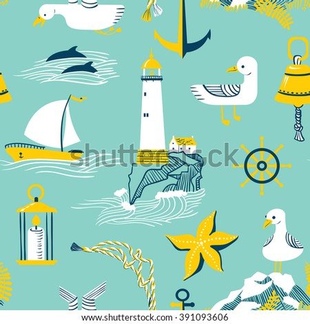 Seamless pattern with marine issues. - stock vector