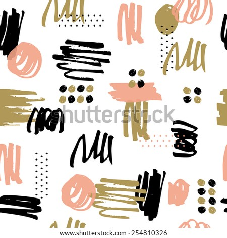 Seamless pattern with marker texture. Bright illustration, can be used for creating card, invitation card for wedding, wallpaper and textile. - stock vector