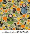 Seamless pattern with matreshka monster and black cats. Vector texture for Halloween. - stock vector