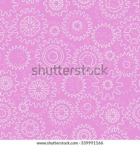 Seamless pattern with mechanical gears and cogwheels - stock vector