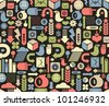 Seamless pattern with media icons. Vector texture. - stock vector