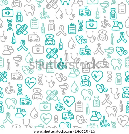 Seamless pattern with medical elements - stock vector