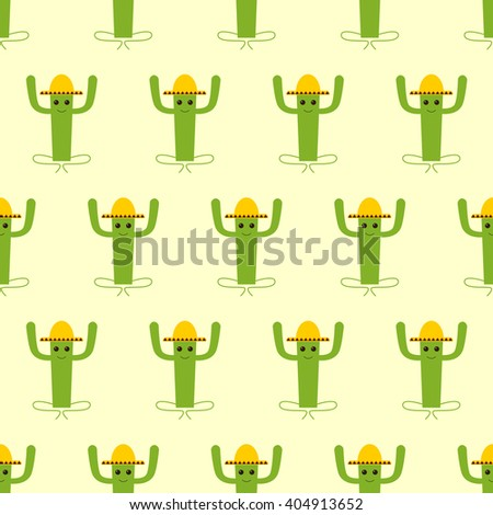 Seamless pattern with mexican cactus isolated on yellow background - stock vector