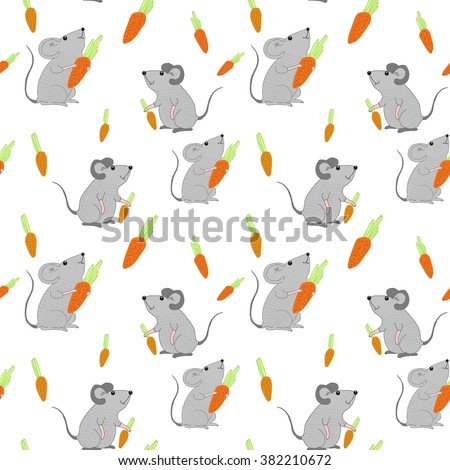 Seamless pattern with mice and carrot. Vector texture for design