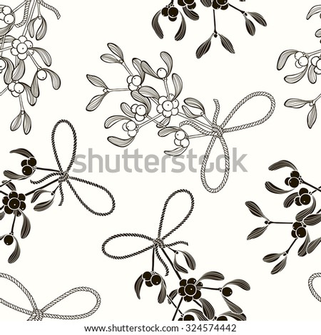 Seamless  pattern with mistletoe. Black and white vector background.