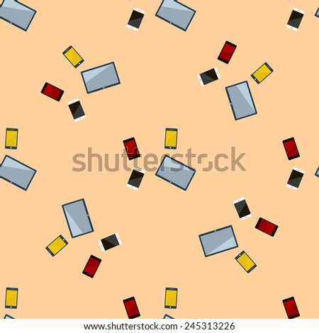 Seamless Pattern with Mobile Devices colorful, vector illustration. - stock vector