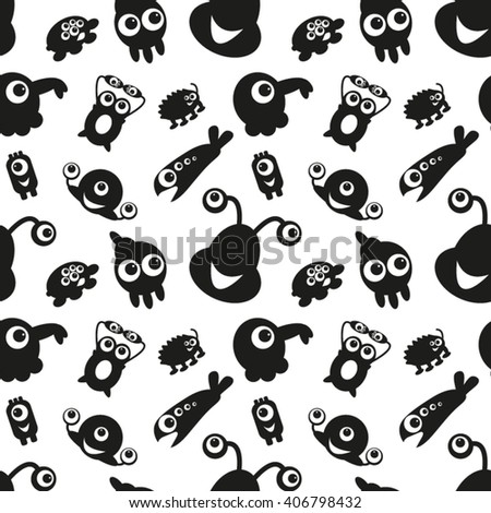 Seamless Pattern with Monsters 6. Can be used on clothes (T-shirts, pajamas, children's wear, etc), bags, wrappings, greeting cards, pillows and other things. - stock vector