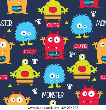 seamless pattern with monsters vector illustration - stock vector