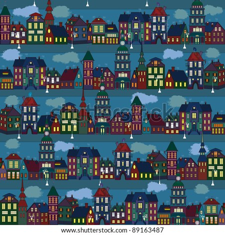 Seamless pattern with multi-colored houses in the night city - stock vector