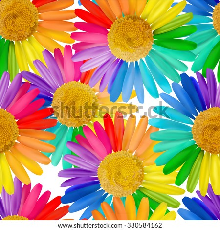 Seamless pattern with multicolored daisy, chamomile flowers. Vector illustration. EPS10. - stock vector