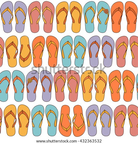 Seamless pattern with multicolored flip-flops