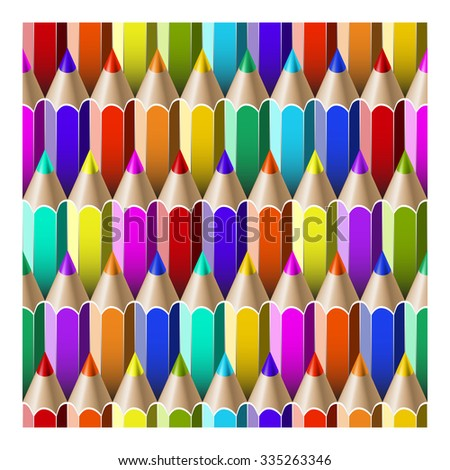 seamless pattern with multicolored pencils. Vector illustration - stock vector