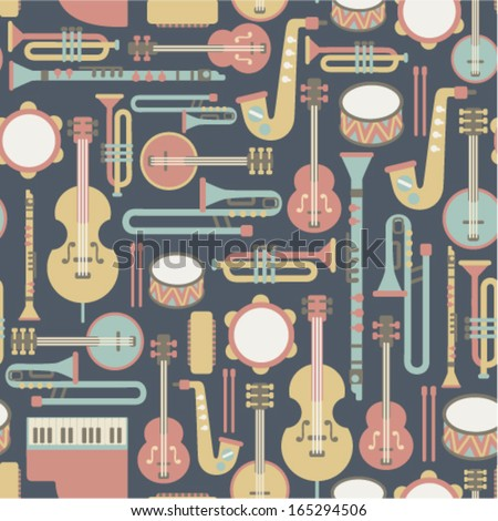 seamless pattern with music instruments. on dark background - stock vector