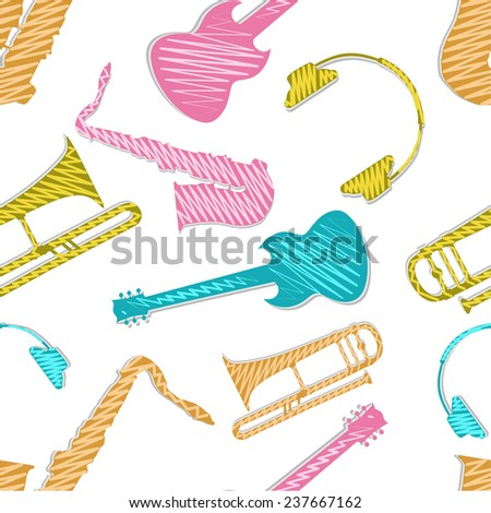 Seamless pattern with musical instrument. - stock vector