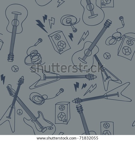 Seamless pattern with musical instruments - stock vector