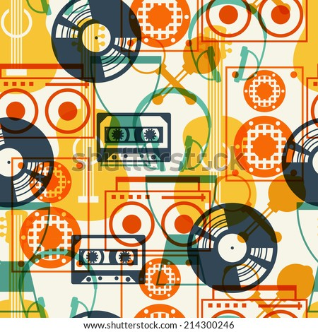 Seamless pattern with musical instruments in flat design style. - stock vector