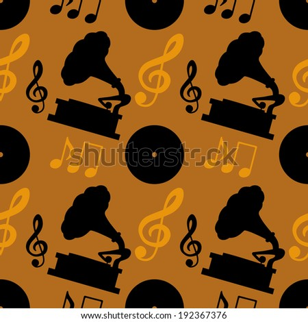 Seamless pattern with musical notes, treble clef, gramophone, vinyl record. Endless print silhouette texture. Retro. Vintage style - vector  - stock vector
