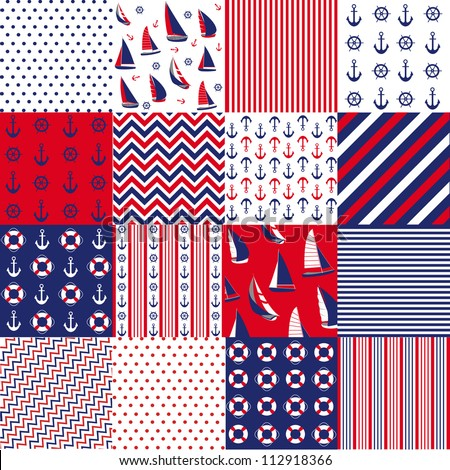 Seamless pattern with nautical elements - stock vector