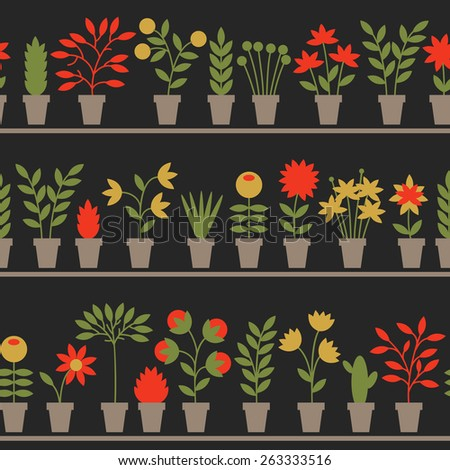 Seamless pattern with nice flowers in pots. Vector illustration.