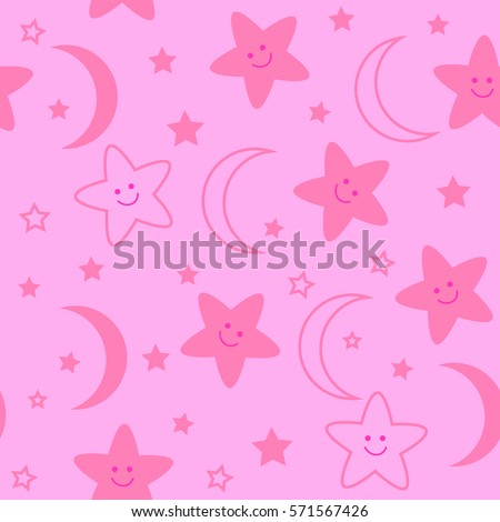 Seamless pattern with night stars and moon. Cute baby background