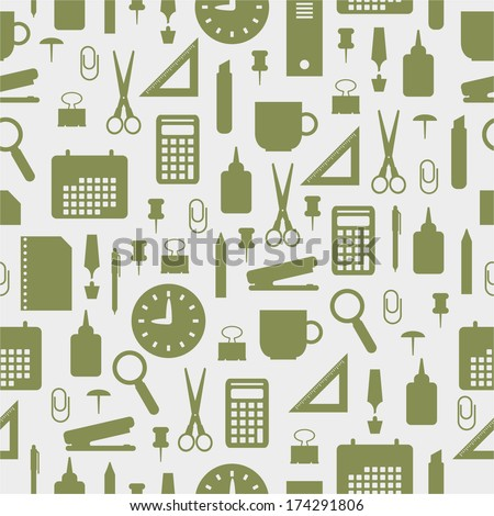 Seamless pattern with office stationery icons  - stock vector