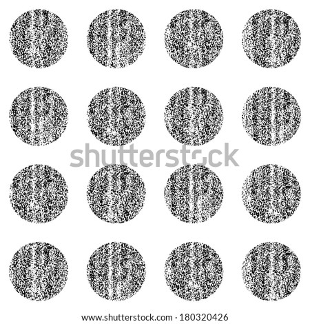 Seamless pattern with old painted damaged texture. Black color circle shape in white background. Geometrical traditional backdrop. Template swatch vector illustration graphic design element in 8 eps - stock vector