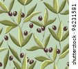 Seamless pattern with Olive Branches - stock vector