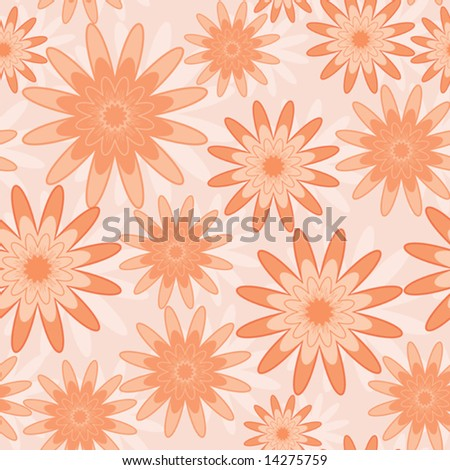 Seamless pattern with orange abstract flowers (can be repeated and scaled in any size)