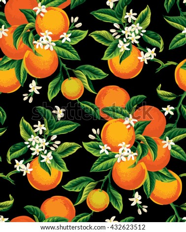 Seamless pattern with orange fruits, flowers and leaves on a black background. Vector illustration. - stock vector