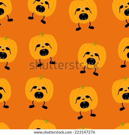 Seamless pattern with orange pumpkin on two black legs with eyes full of fear partly closed by its hands, black nose, crying with its mouth full of sharp teeth isolated on bright orange background - stock vector