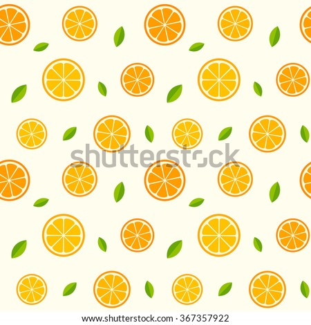 Seamless pattern with oranges and leaves. Vector texture illustration. - stock vector