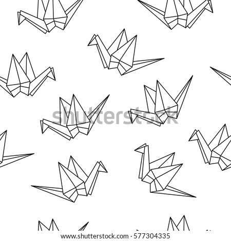 seamless pattern origami cranes paper crane stock vector 2018 rh shutterstock com origami crane instructions easy origami crane instructions easy
