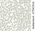 seamless pattern with ornament of grey leaves - stock vector