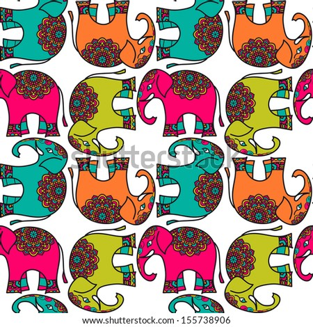 Seamless Pattern With Ornate Indian Elephant - stock vector