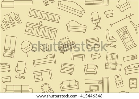 Seamless pattern with outlines of the furniture
