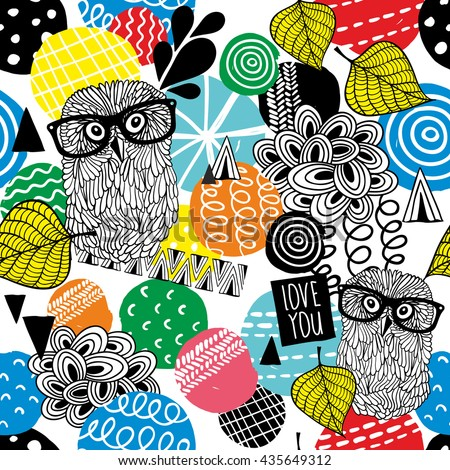 Seamless pattern with owls in eyeglasses. Vector colorful background.