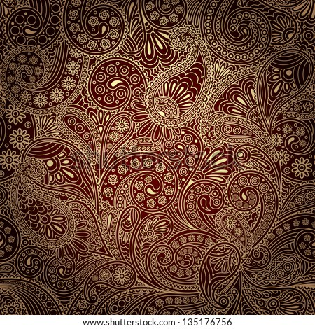 seamless pattern with paisley - stock vector