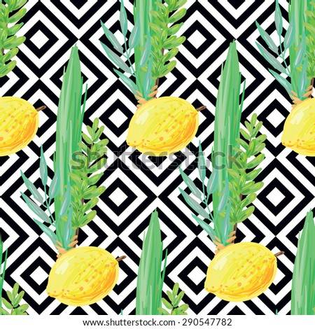 Seamless pattern with palm branch, willow and myrtle leaves, bright yellow etrog. Jewish festival Sukkot four species lulav and esrog. Perfect for wallpapers, pattern fills, surface textures, textile - stock vector