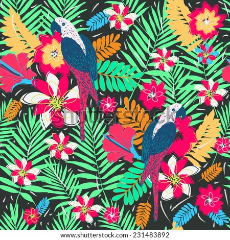 Seamless pattern with palm leaves and parrots.Colorful Nature seamless background. Tropical flower , blossom  pattern background. - stock vector