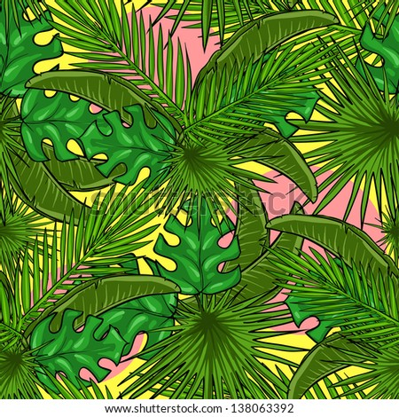 Seamless pattern with palm leaves, Tropical background - stock vector